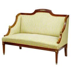 19th Century Mahogany Small Empire Egyptian Influenced Settee Sofa