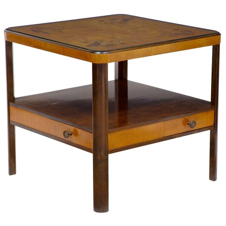 1950 39 S Swedish Birch Inlaid 4 Drawer Coffee Table At 1stdibs