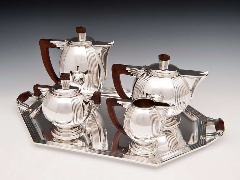 Stunning Art Deco Silver plated Tea Set with exotic Palmwood handles is of the highest quality & Art Deco Silver Plated Tea Set at 1stdibs