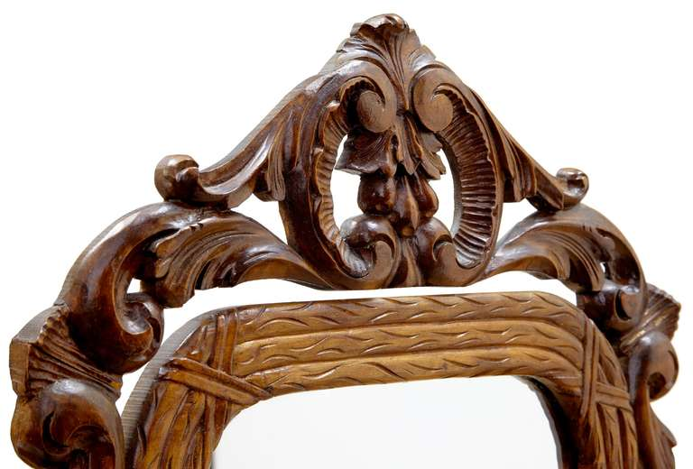 Late 19th Century Carved Oak Black Forest Vanity Mirror 4