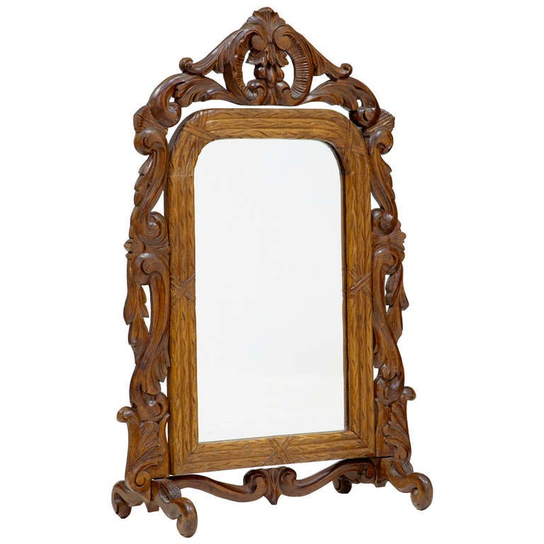 Late 19th Century Carved Oak Black Forest Vanity Mirror 1