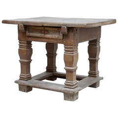 17th Century Flemish Oak Rent Table, Original Never Been Touched