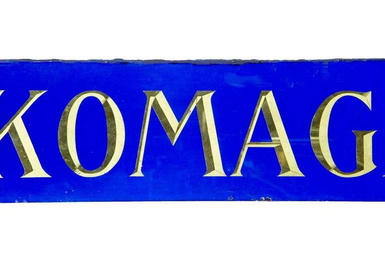 Art Deco Decorative Blue Glass and Gold Boutique Shoe Shop Sign For Sale