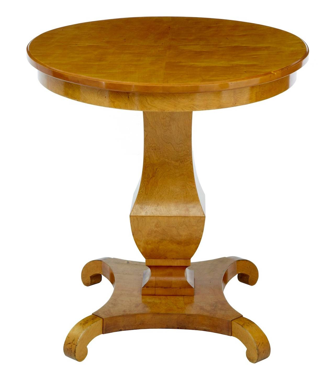 19th century, Swedish birch centre occasional table Swedish birch centre table circa 1890. Of good color and patina. Oval top with fluted stem leading to quadriform base   Measures: Height: 30