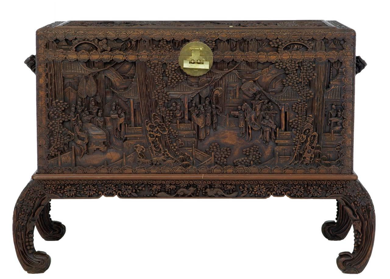 20th Century Carved Camphorwood Chinese Chest on Stand at 1stdibs