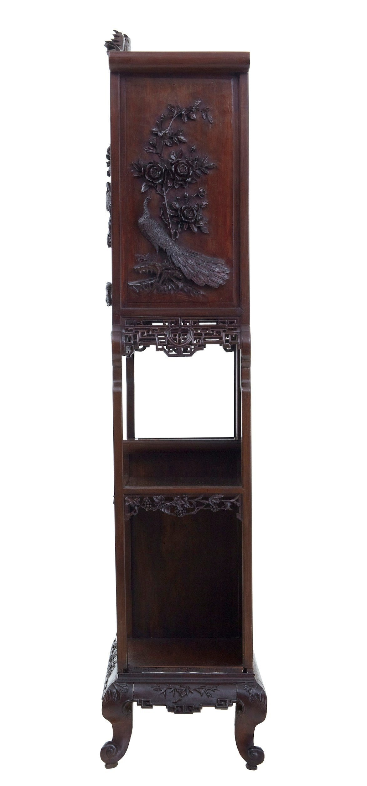 19th century carved oriental hardwood chinese display for Oriental wood carved furniture