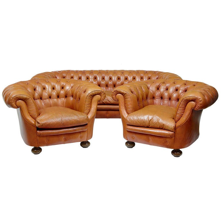 20th Century Leather Chesterfield Suite Sofa And Armchairs