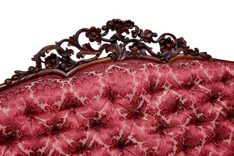 19th Century Carved Large Victorian Mahogany Sofa 3