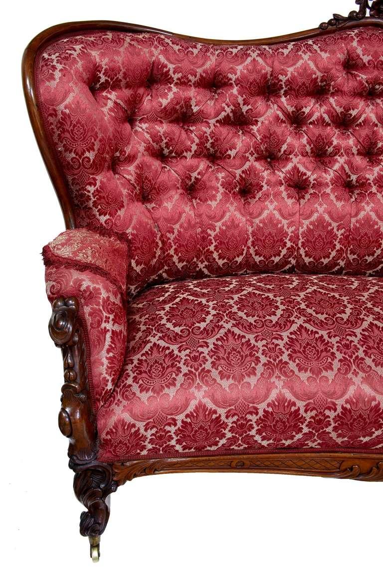 19th Century Carved Large Victorian Mahogany Sofa 4