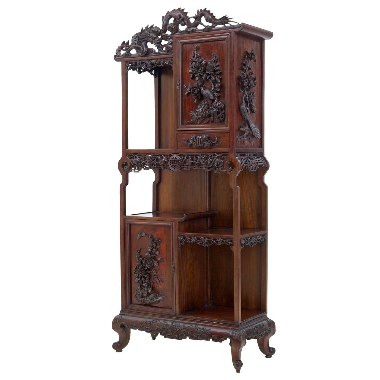 19th century carved oriental hardwood chinese display for Oriental cabinet