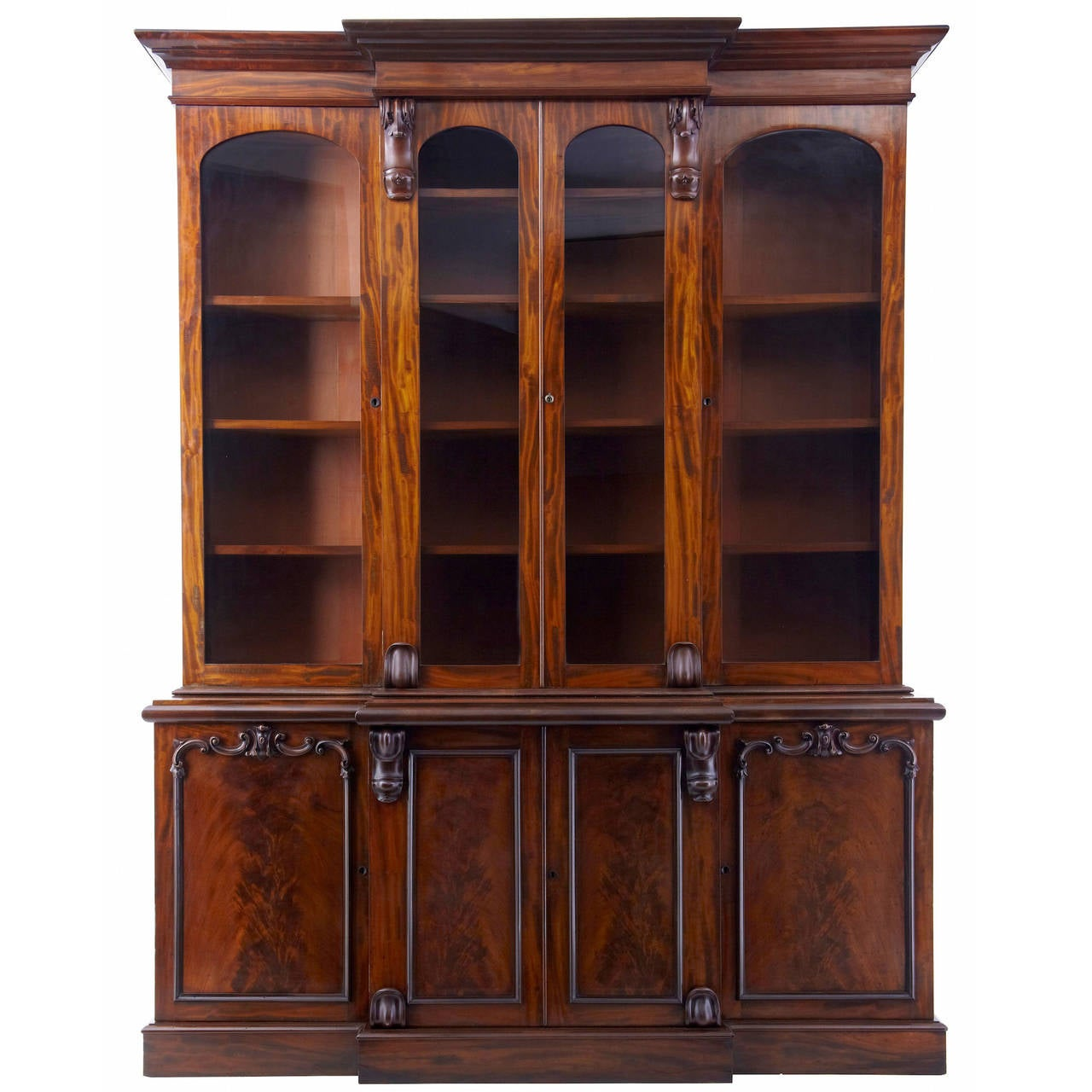 Early Victorian 19th Century Flame Mahogany Breakfront Bookcase