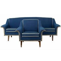 20th Century 1960s Swedish Mahogany Retro Sofa and Armchair