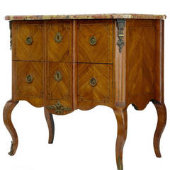 19th Century French Kingwood Marble-Top Commode or Chest of Drawers