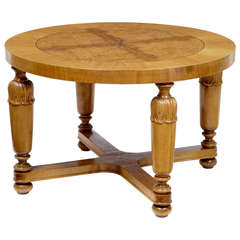 Art Deco Swedish, Carved Birch and Elm Coffee Table