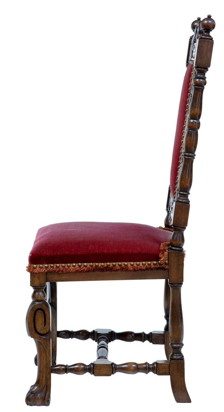 Set of six 1920s baroque influenced high back dining for Baroque style dining chairs