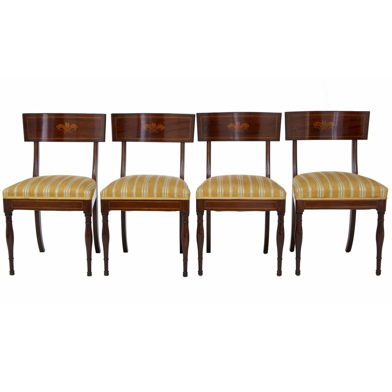 Small set of four william iv mahogany dining chairs at 1stdibs for Small dining sets for 4