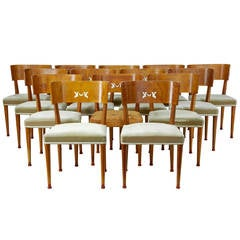 Rare Set of 14 Art Deco Birch Dining Chairs