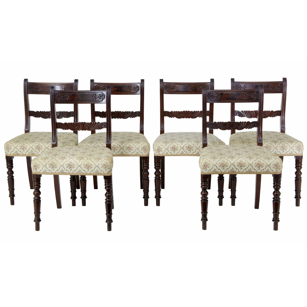 Set of 19th Century Regency Mahogany Dining Chairs For Sale