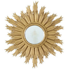 20th Century Late Art Deco Sunburst Mirror