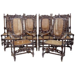 Set Of 10 19th Century Walnut Carolean Style Dining Chairs