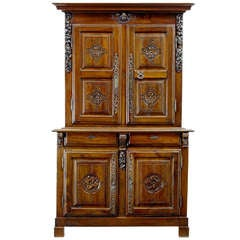 18th Century Antique French Walnut Buffet Du Corps, Kitchen Cupboard, Armoire