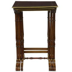 1920's Nest Of 3 Mahogany Brass Inlaid Tables