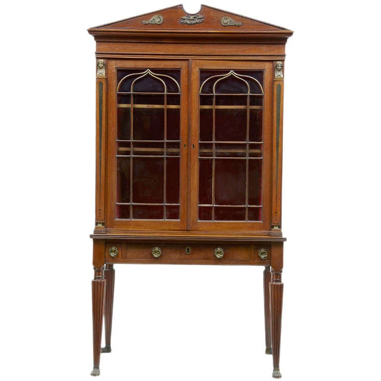19th Century Antique Mahogany Inlaid Display Cabinet At