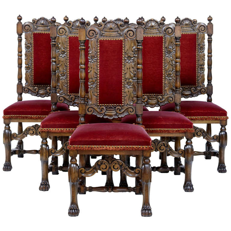 set of six 1920s baroque influenced high back dining chairs at 1stdibs. Black Bedroom Furniture Sets. Home Design Ideas