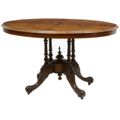 19th Century Victorian Burr Walnut Inlaid Loo Table