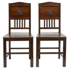 Pair of 19th Century Mahogany English Colonial Hall Chairs