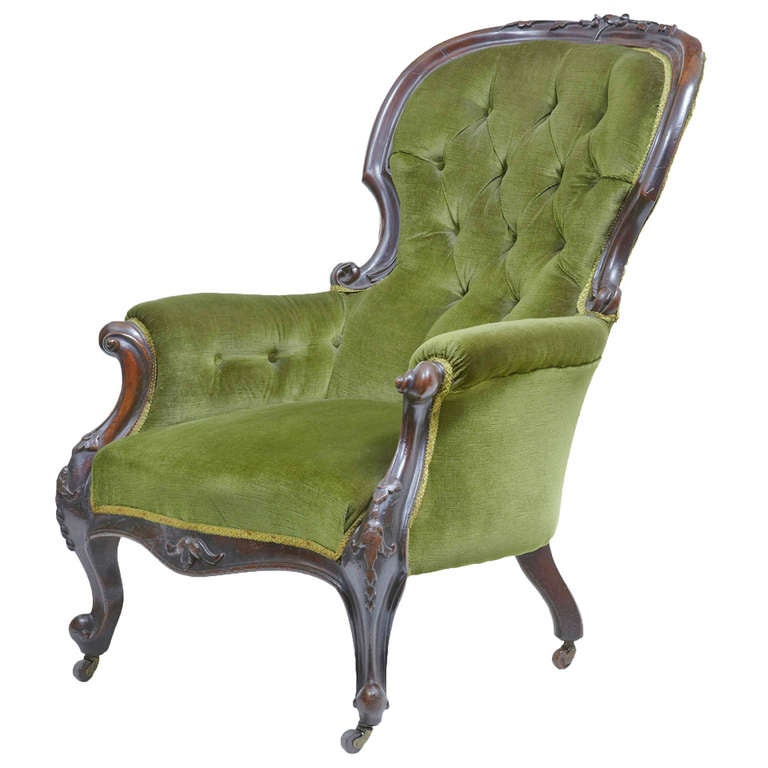 19th Century Victorian Carved Dark Walnut Lounge Chair At