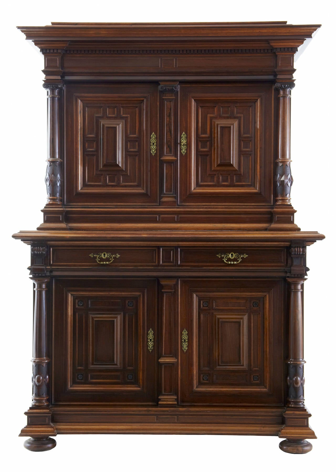 19th century Italian rosewood baroque style cupboard Fine quality baroque influenced cupboard, circa 1890. Substantial statement piece unusually made in rosewood. Comprising of two sections, top section double doors open to two shelves, over two