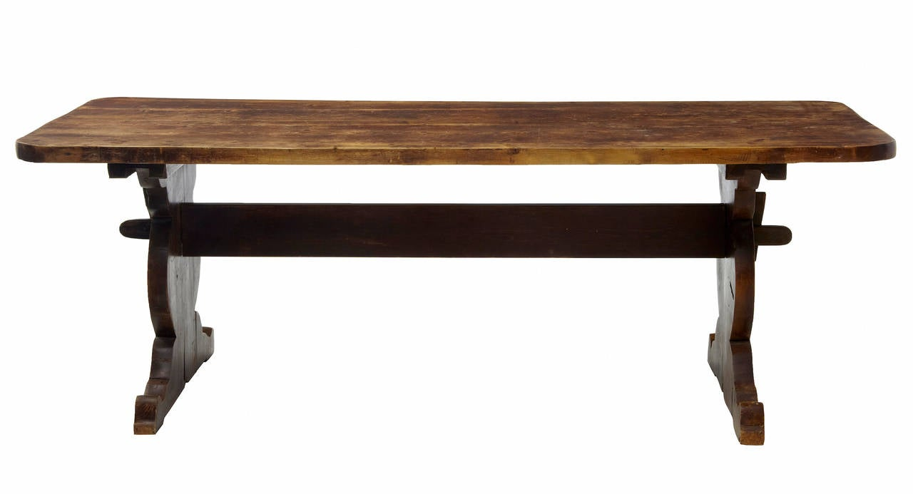 19th Century Rustic Pine Refectory Dining Table For Sale At 1stdibs