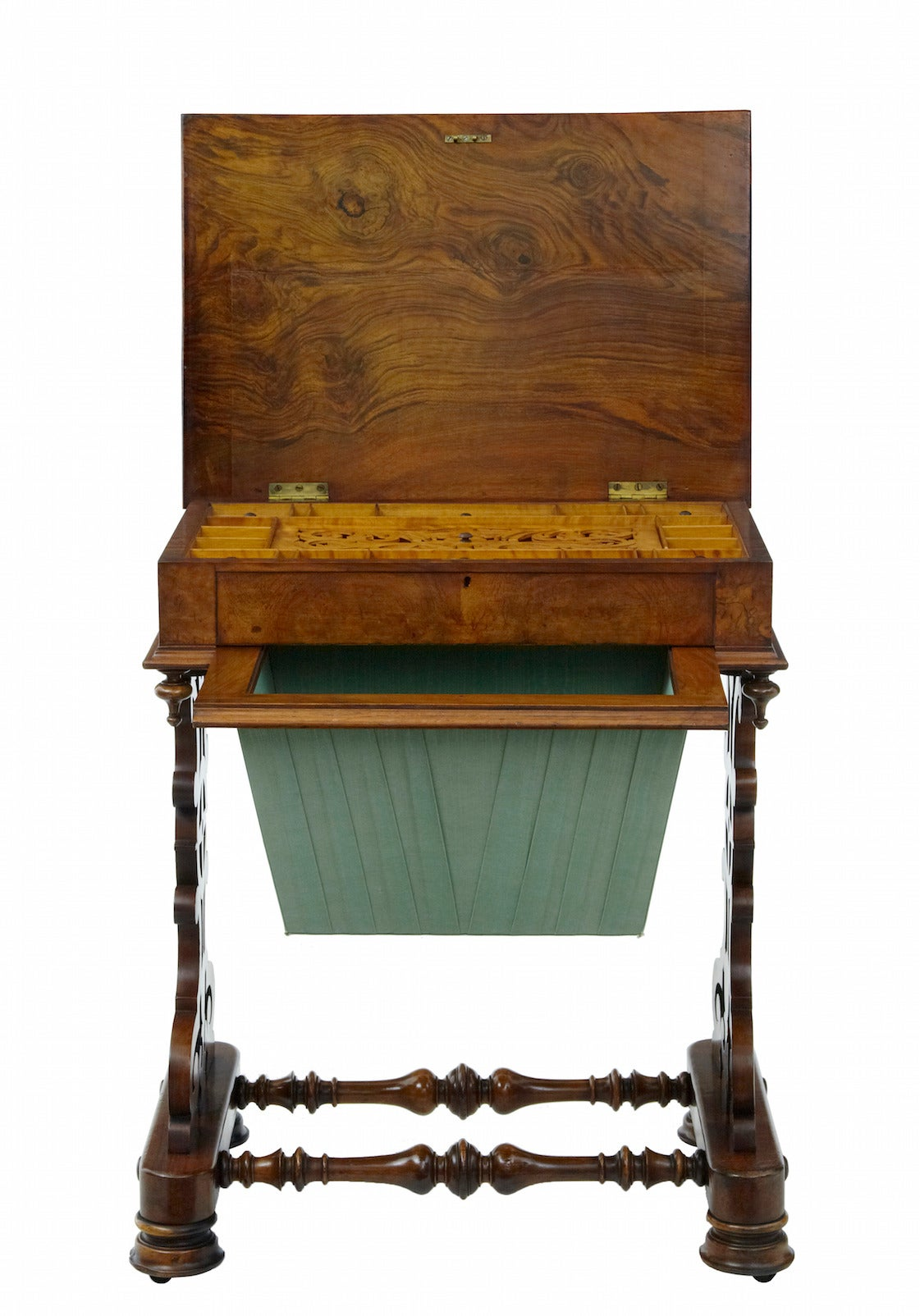 Victorian 19th Century Walnut Work Occasional Table For Sale