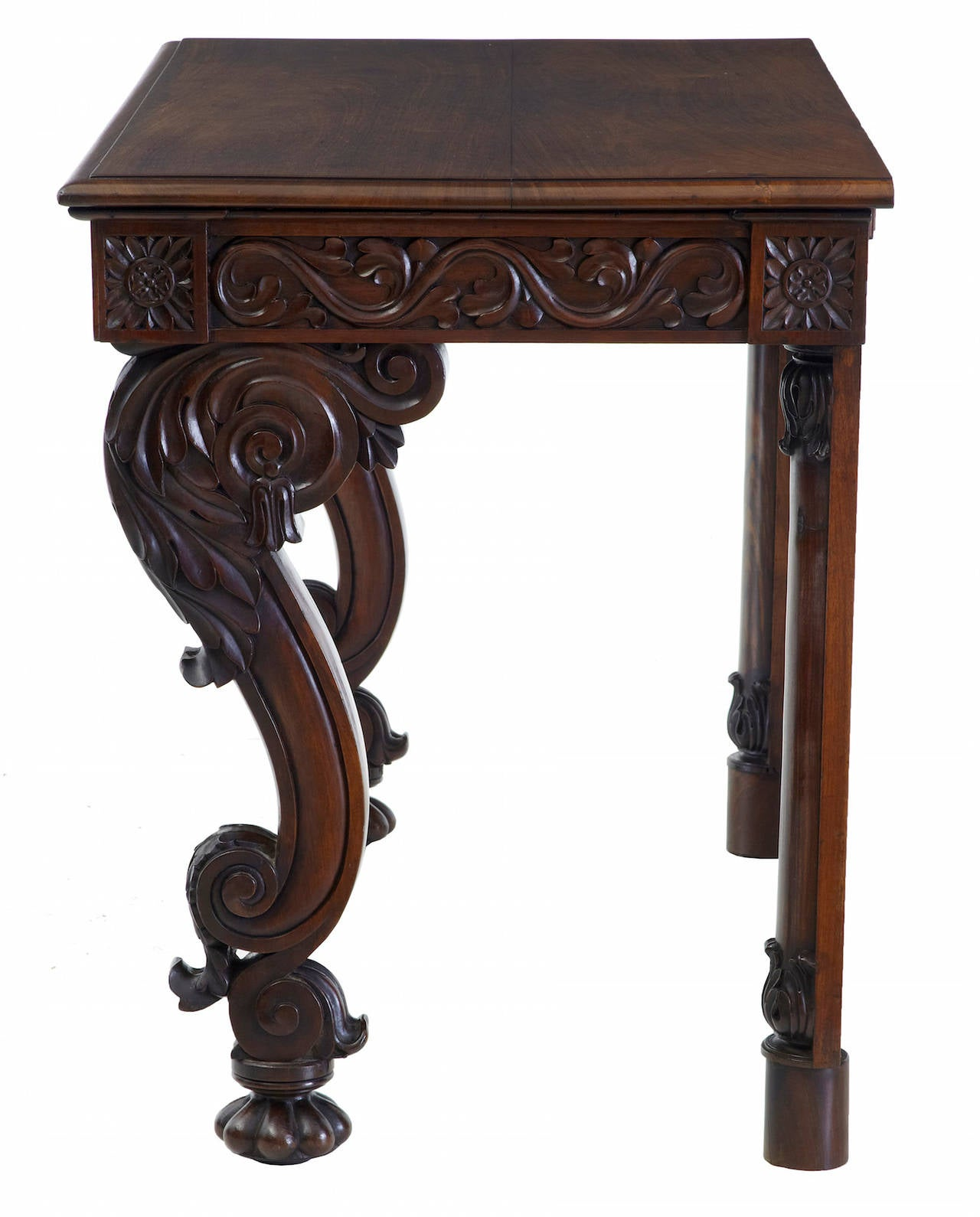 Asian 19th Century Anglo Indian Carved Rosewood Console Table For Sale