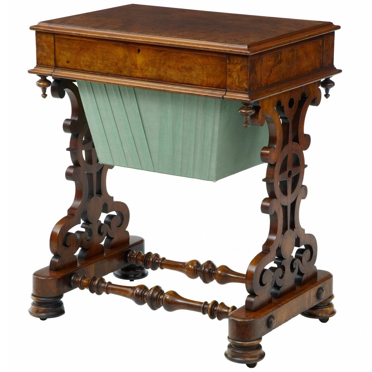 19th Century Walnut Work Occasional Table For Sale