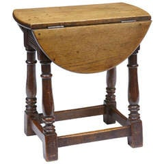 Unusual 19th Century Small Oak Dropleaf Side Table