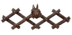 Black Forest Deer Head Carved Coat Hooks, circa 1880