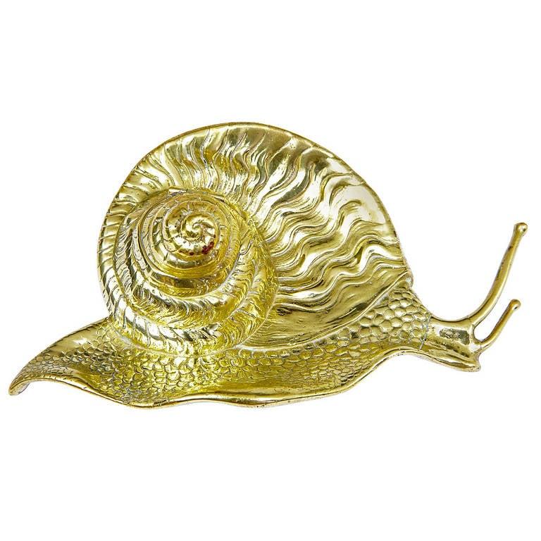 19th Century Art Nouveau Novelty Brass Snail Ink Well