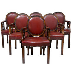 Set of Six Early 20th Century Mahogany and Leather Open Armchairs