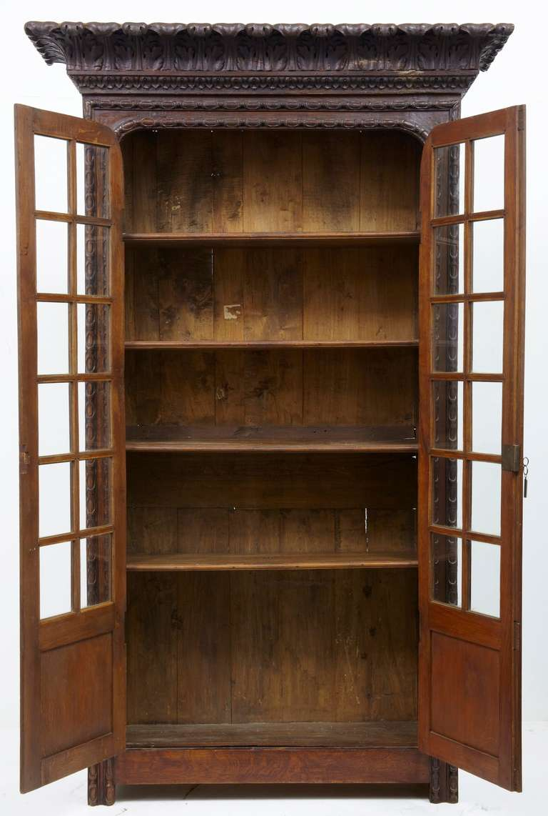 An Unusual Provincial Louis Xiv Influenced Oak Bookcase At