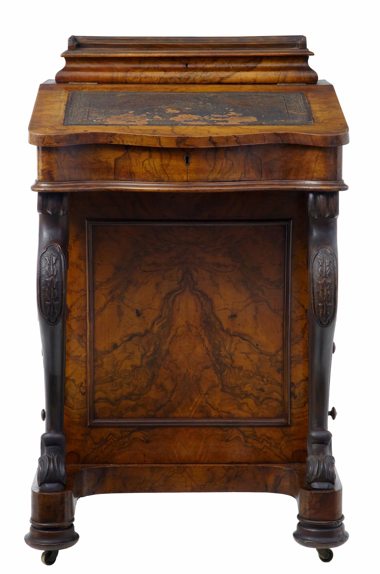 Th century victorian carved walnut davenport writing
