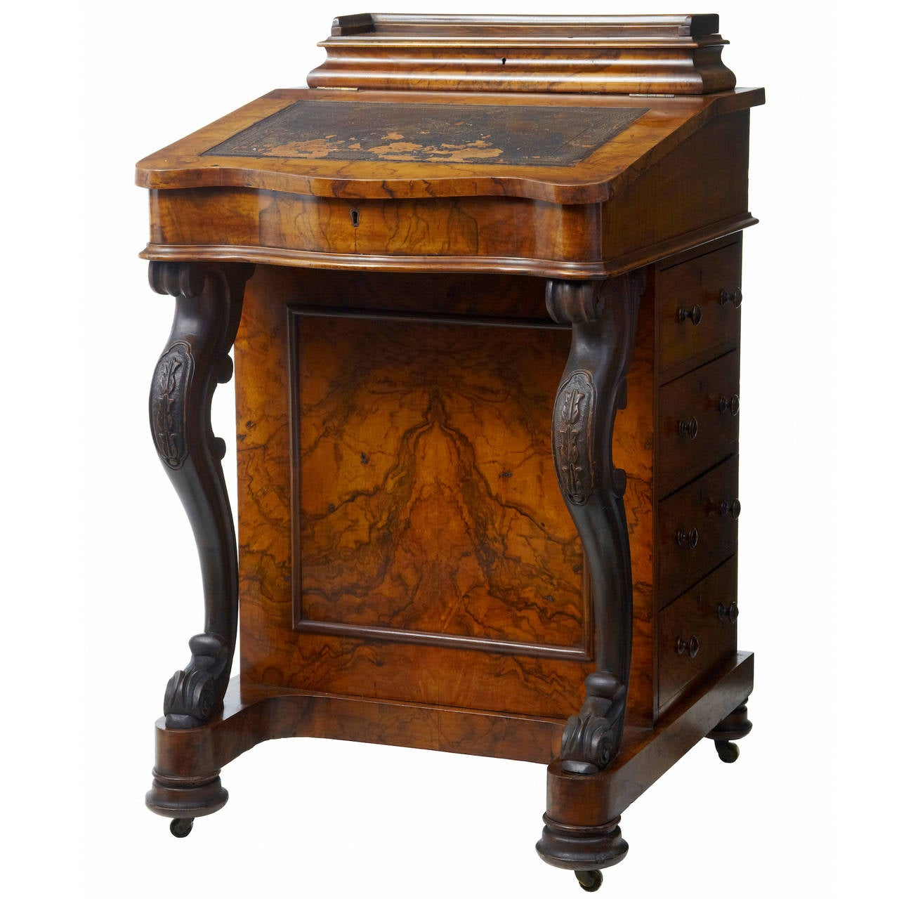 19th century victorian carved walnut davenport writing desk 1