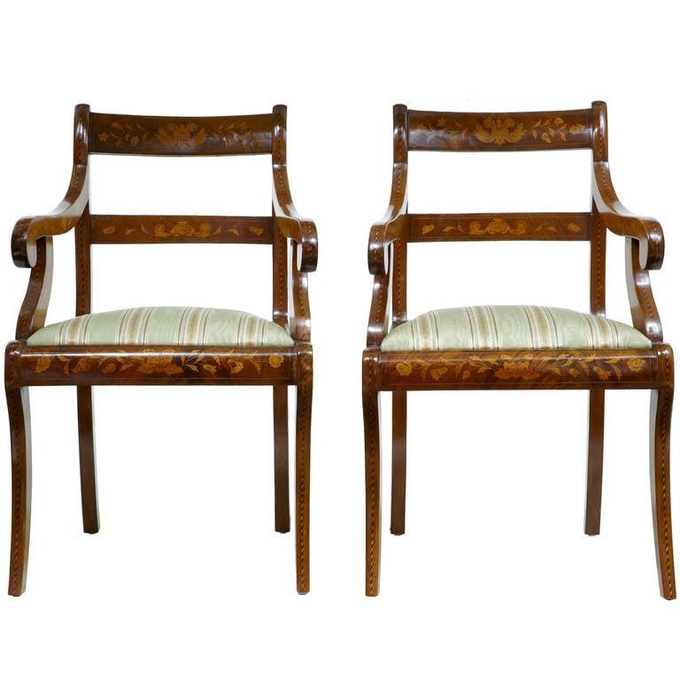 Pair of 19th Century, Dutch Walnut Marquetry Armchairs