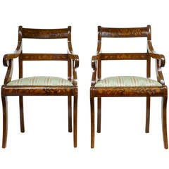 Pair of 19th Century, Dutch Walnut Marquetry Armchairs