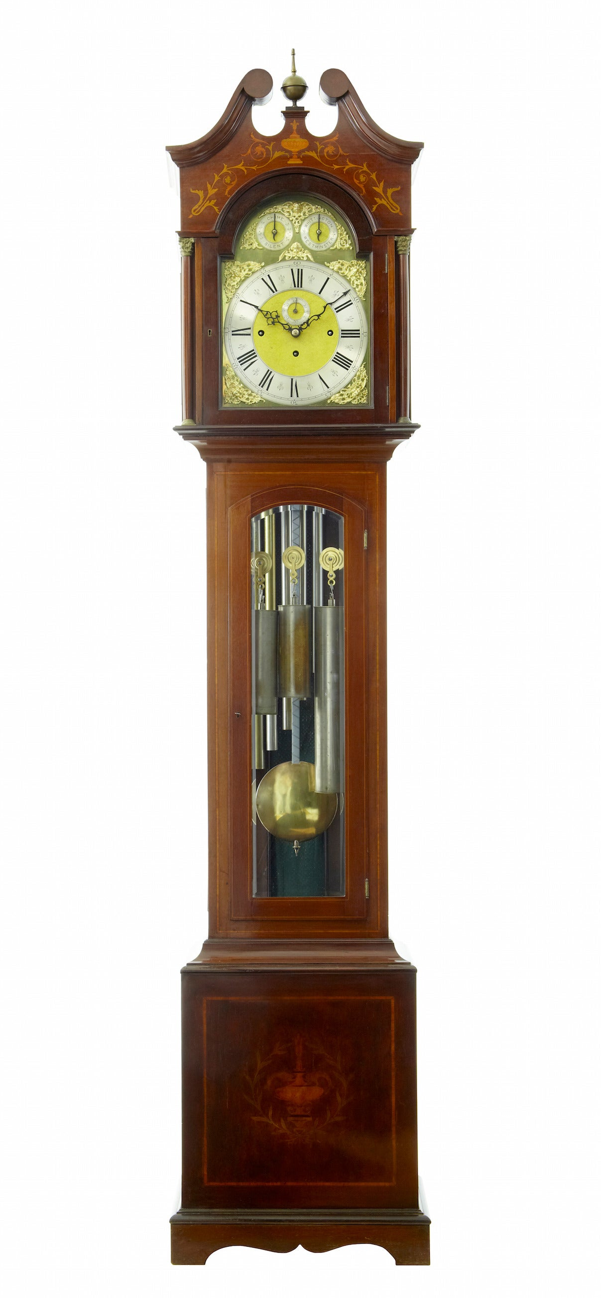 Edwardian Inlaid Mahogany Westminster Chiming Longcase Grandfather Clock at 1stdibs