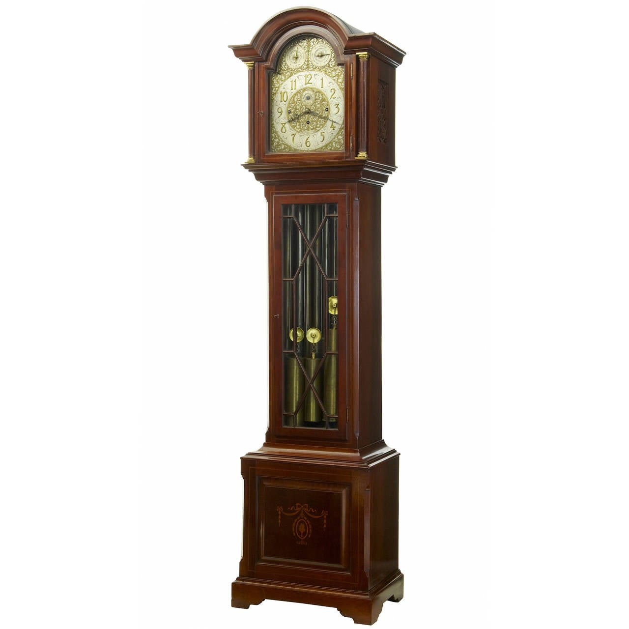 19th Century Inlaid Mahogany Westminster Chiming Longcase