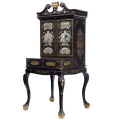 19th Century Chinese Canton Black Laquered Desk Cabinet