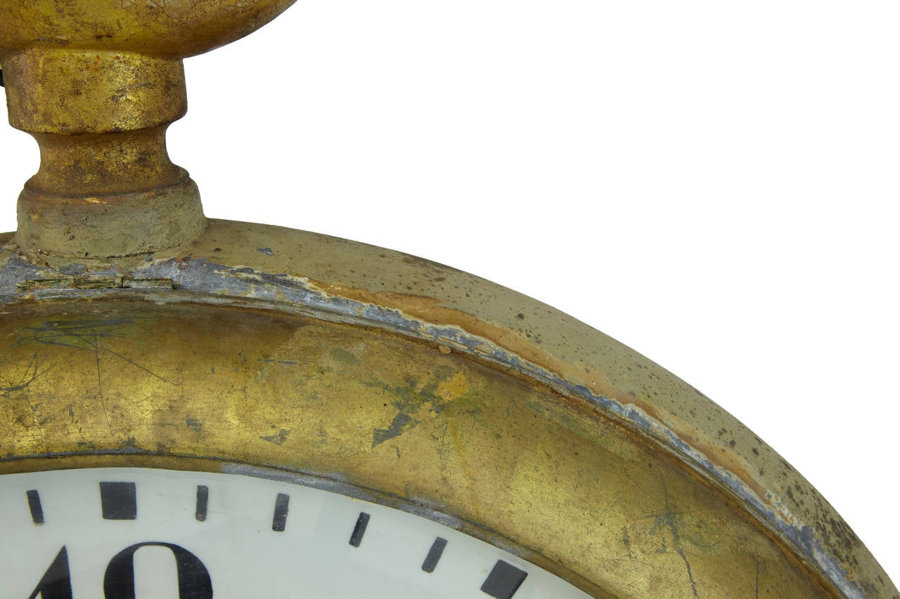 Swedish Unique Early 20th Century Tole Oversized Street Clock For Sale
