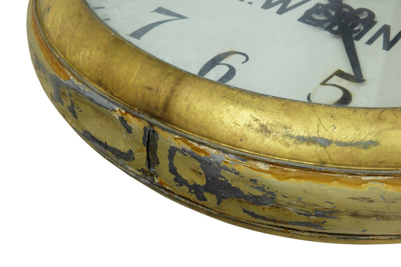 Metal Unique Early 20th Century Tole Oversized Street Clock For Sale